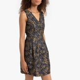 Molly Bracken Short Sleeveless Flared Dress in Floral Metallic Jacquard