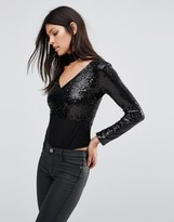 Club L Deep V Sequin Long Sleeve Body With Detachable Choker