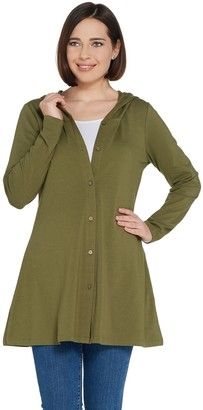 Denim & Co. Long-Sleeve Button Front Jacket with Hood
