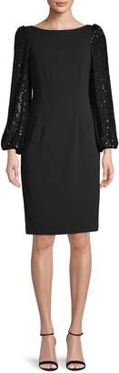 Eliza J Boat Neck Sequin-Sleeve Sheath Dress