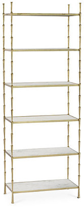 Global Views Spike Etagere - Gold/White Marble