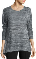 STYLUS Stylus Long-Sleeve Sharkbite Textured Knit Top