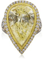 18K Rose & Yellow Gold 14.33ct Fancy Light Yellow Pear Shaped Diamond Engagement Ring
