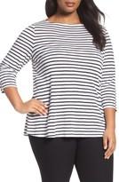 Eileen Fisher Plus Size Women's Seaside Organic Linen Stripe Tee