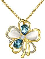"""B.young Crystal 18K RGP Gold Plated Silve Flower Pendant Necklace 18"""" Glod Tone"""