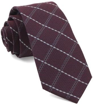 Tie Bar Gem Plaid Burgundy Tie