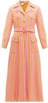 Gucci Metallic-stripe Tailored Wool-blend Dress - Womens - Orange Multi