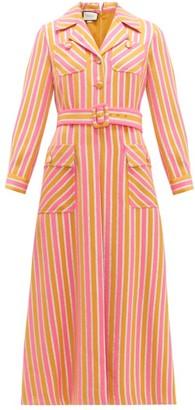 Gucci Metallic-stripe Tailored Wool-blend Dress - Orange Multi