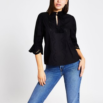 River Island Womens Black broderie cut out tie front top