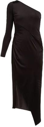 Galvan Mamounia Asymmetric Jersey Midi Dress - Womens - Black