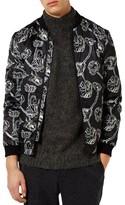 Topman Men's Poppy Print Bomber Jacket