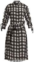 Preen Line Uri plaid-checked crepe de Chine shirtdress