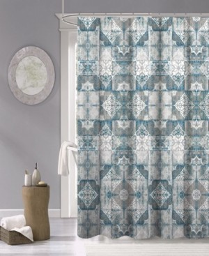"""Dainty Home Tiles Fabric Shower Curtain, 70"""" x 72"""" Bedding"""
