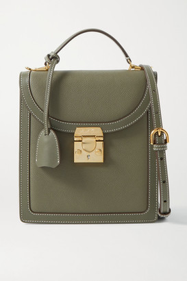 Mark Cross Uptown Smooth And Textured-leather Shoulder Bag - Army green