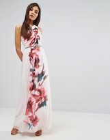Little Mistress Cross Front Floral Placement Maxi Dress