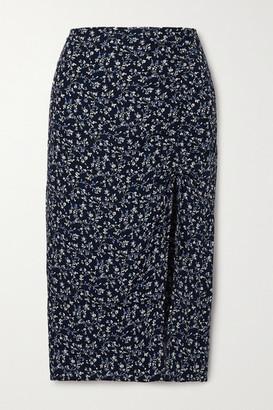 Reformation Prose Floral-print Crepe Midi Skirt - Blue