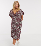 New Look Plus Curve wrap dress in red pattern