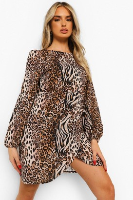 boohoo Mixed Animal Balloon Sleeve Wrap Front Shift Dress
