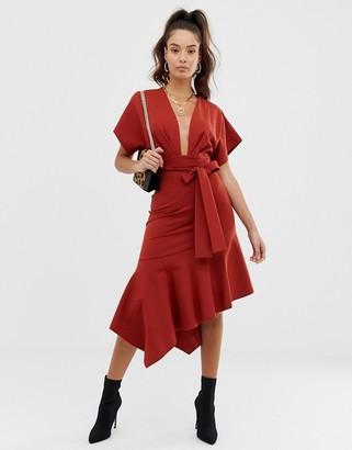 Asos Design DESIGN deep V pep hem midi dress-Brown