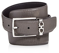 Salvatore Ferragamo Men's Gancini Keeper Reversible Textured Leather Belt