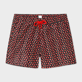 Paul Smith Men's Black 'Strawberry Skull' Print Swim Shorts