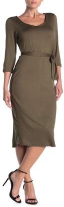 Loveappella V-Neck Waist Tie Dress