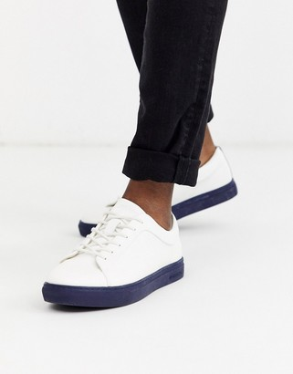 Jack and Jones contrast sole PU trainers-White