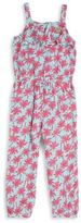 Juicy Couture Little Girl's Ruffled Palm-Print Jumpsuit