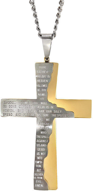 JCPenney FINE JEWELRY Mens Two-Tone Stainless Steel Cross Pendant Necklace