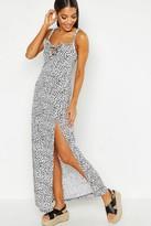boohoo Dalmatian Print Jersey Ruffle Strap Maxi Dress