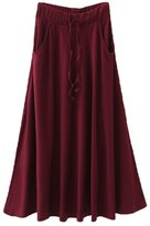 LETSQK Women's Solid Color Pleated Stretch Long Maxi Skirts BurgundyThick