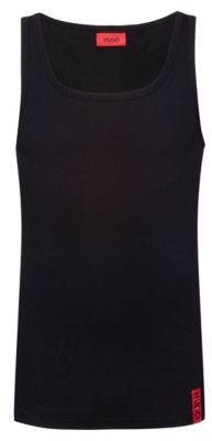 Slim-fit tank top with vertical logo
