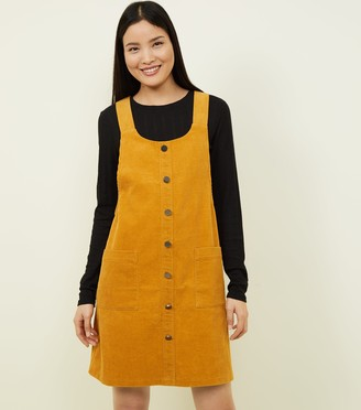 New Look Button Front Corduroy Pinafore Dress