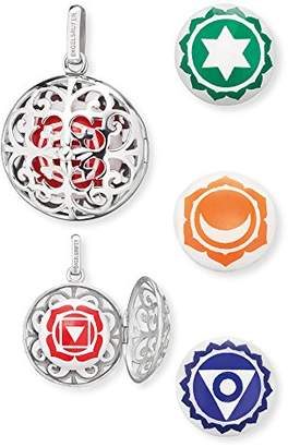 Engelsrufer Women's 925 Sterling Silver Red Pendant with Four Changeable Sound Lenses Root, Heart, Sacral and Throat Chakra
