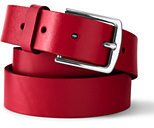 Lands' End Men's Casual Leather Belt-Red Azalea