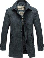 Chouyatou Men's Stylish Single Breasted Sherpa Lined Wool Trench Coat Windbreaker
