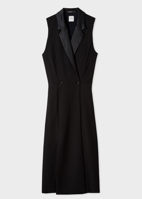 Paul Smith Women's Black Tuxedo Double-Breasted Dress With Satin Detail