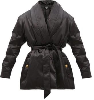 Balmain Padded Satin Coat - Black