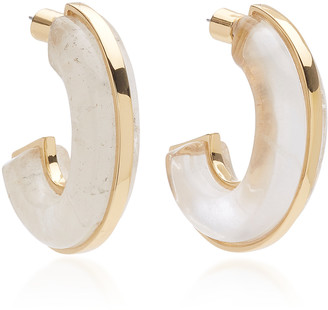 clear Demarson DEMARSON Bianca Quartz Hoop Earrings