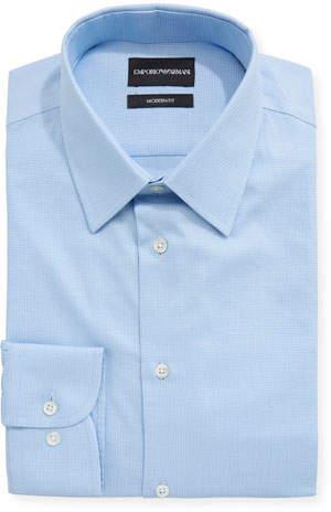Emporio Armani Modern Fit Textured Barrel-Cuff Dress Shirt