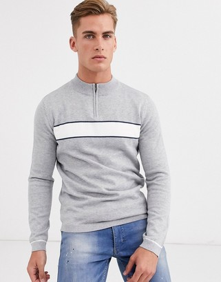 Selected chest stripe quarter zip jumper in grey