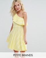 Boohoo Petite One Shoulder Frill Dress