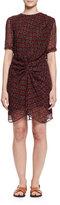 Etoile Isabel Marant Barden Twist-Front Silk Polka-Dot Dress, Burgundy