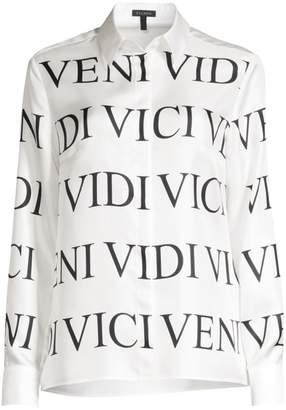 Escada Nesisa Veni Vidi Printed Silk Blouse