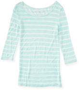 Aeropostale 3/4 Sleeve Sheer Striped Boat-Neck Tee