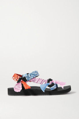 Arizona Love Trekky Printed Gauze-trimmed Canvas Platform Sandals - Blue