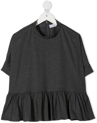 BRUNELLO CUCINELLI KIDS embellished peplum T-shirt