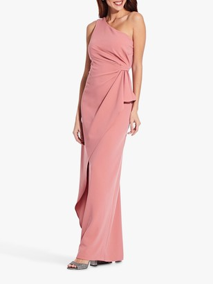 Adrianna Papell Asymmetric Crepe Draped Maxi Dress, Sugar Poppy