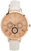 Aeropostale Womens Thin Faux Leather Faux Gem Analog Watch White Wash