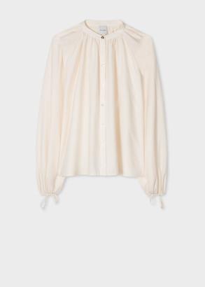 Paul Smith Women's Ivory Silk-Blend Relaxed Smock Shirt